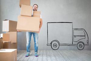 Moving van, boxes