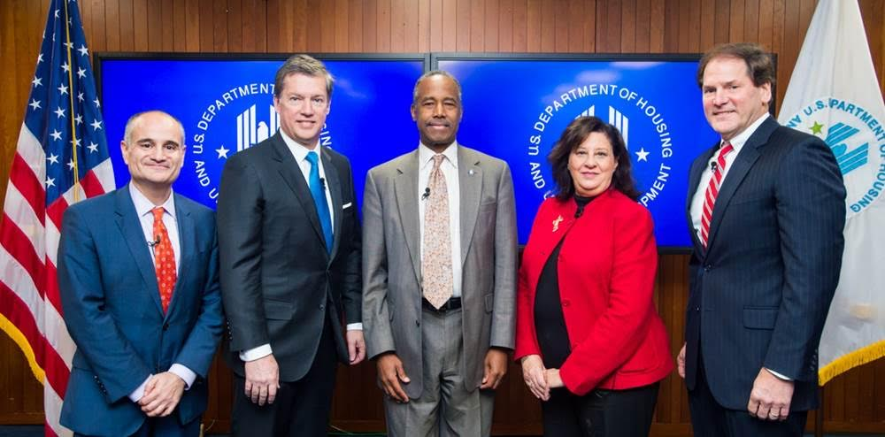 Assistant Secretary Len Wolfson; General Counsel J. Paul Compton, Jr.; HUD Secretary Ben Carson; Assistant Secretary of Administration Suzanne Israel Tufts; and Chief Financial Officer Irv Dennis