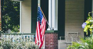 american flag, house, america, usa