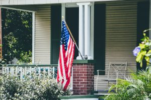 american flag, house, america, usa